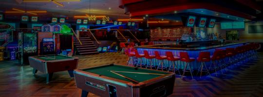 pool tables and bar area