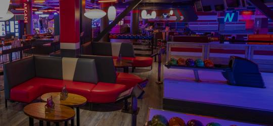 bowling lanes with couches