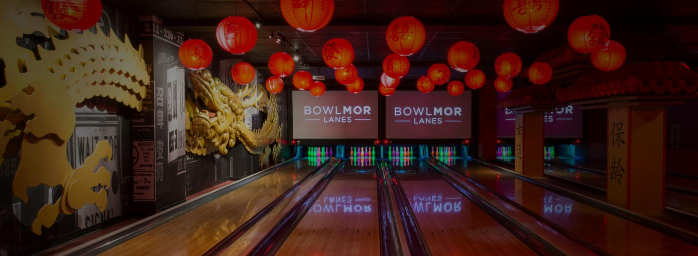 Bowling lanes with a chinatown theme at Bowlmor