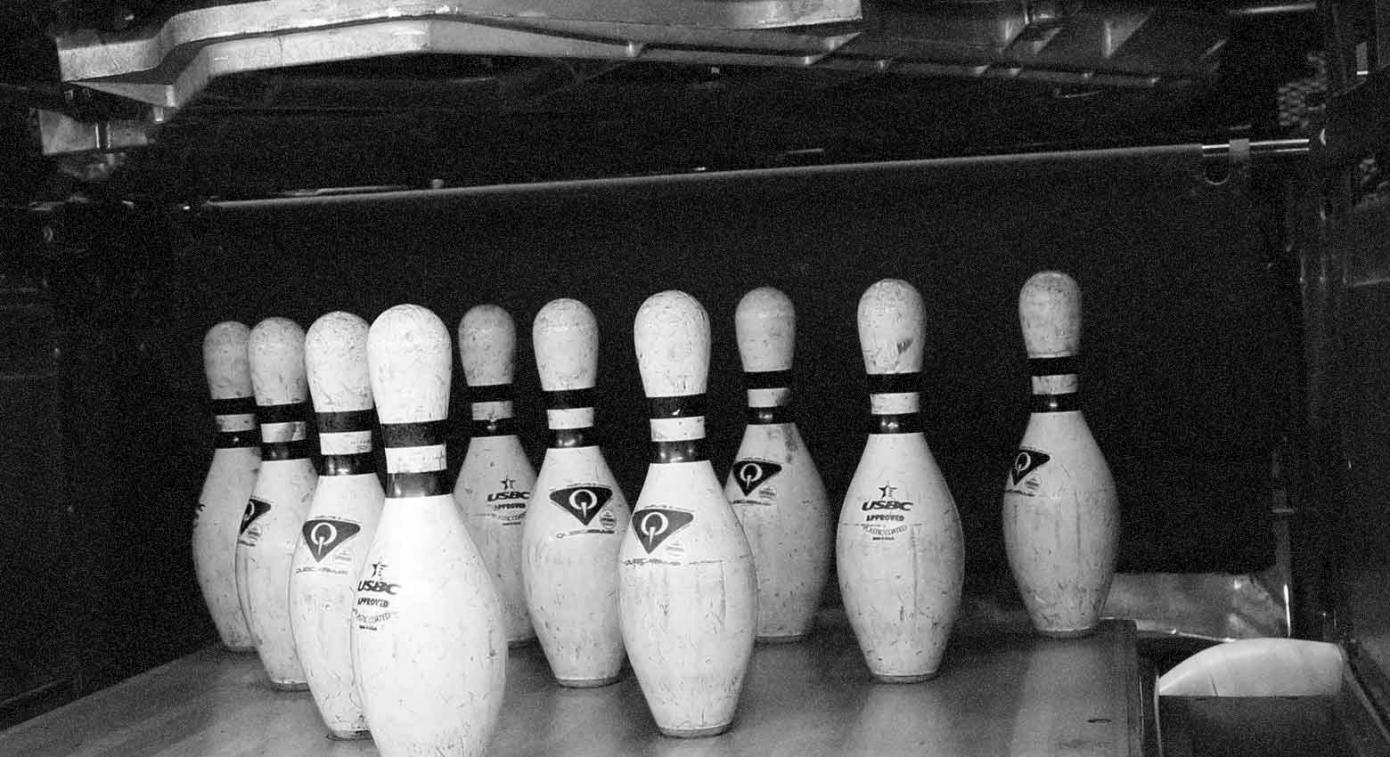 Black and white image of pins